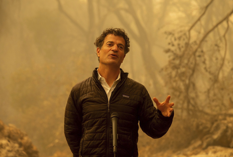 California Secretary for Environmental Protection Jared Blumenfeld talks to the media after he toured the North Complex Fire zone with Gov. Gavin Newsom and California Secretary for Natural Resources Wade Crowfoot, on Friday, Sept. 11, 2020, in Butte County, outside of Oroville, Calif. (Paul Kitagaki Jr/The Sacramento Bee via AP, Pool)