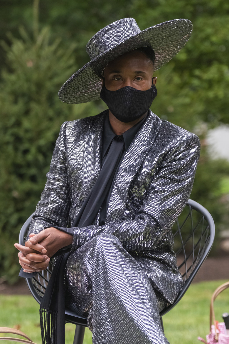 Billy Porter attends the Christian Siriano fashion show held at Christian's home as part of New York Fashion Week on Thursday, Sept. 17, 2020, in Westport, Conn. (Photo by Charles Sykes/Invision/AP)
