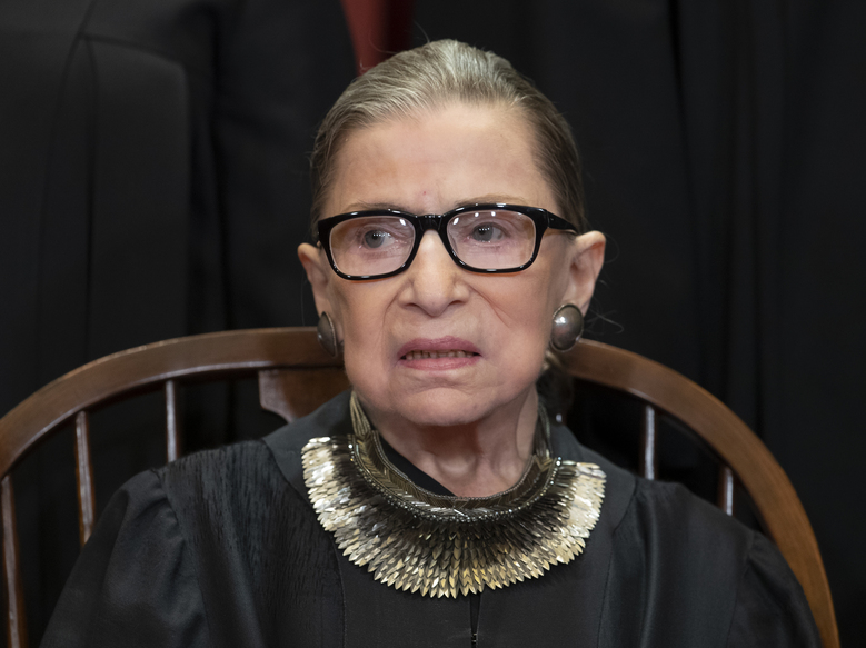 FILE – In this Nov. 30, 2018 file photo, Associate Justice Ruth Bader Ginsburg, nominated by President Bill Clinton, sits with fellow Supreme Court justices for a group portrait at the Supreme Court Building in Washington, Friday. The Supreme Court says Ginsburg has died of metastatic pancreatic cancer at age 87. (AP Photo/J. Scott Applewhite, File)