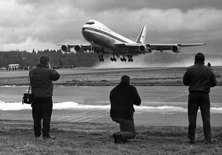 The Boeing 747 makes its first flight on Feb. 9, 1969, from Paine Field in Everett. (Vic Condiotty / The Seattle Times, 1969)