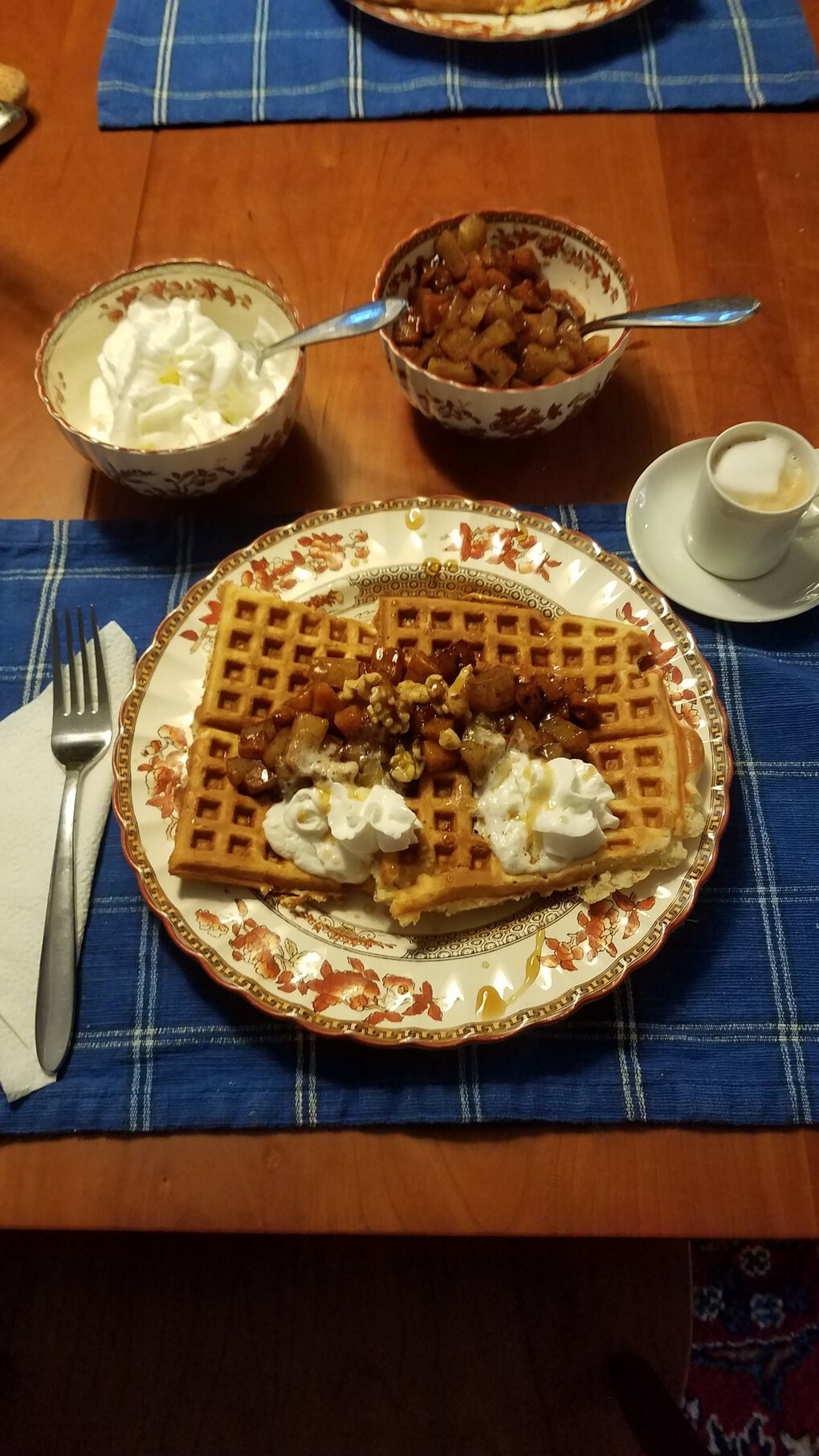 Breakfast for dinner is sometimes the best kind of dinner. Especially when you make waffles with a squash apple compote that comes complete with ginger orange glaze. (Courtesy of Kevin Rochlin)