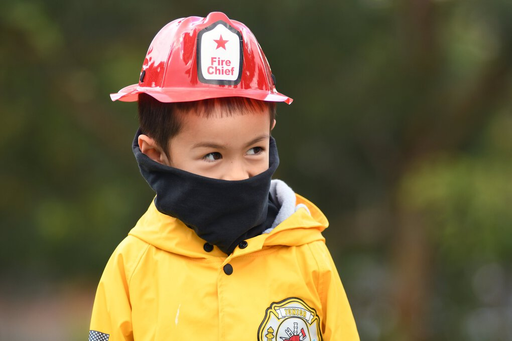 Neck gaiters can be used for firefighter costumes, as shown by Paul Grygiel, 5.  (JiaYing Grygiel)