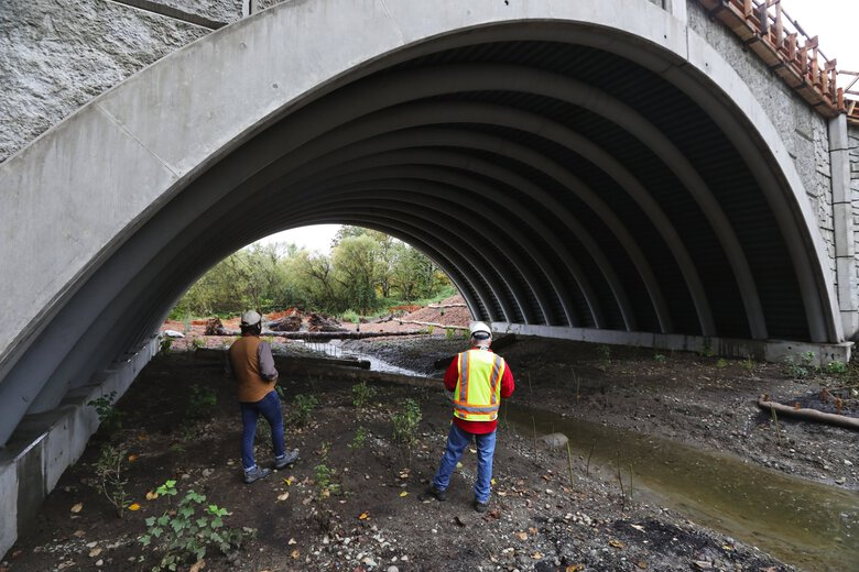 Washington state this summer replaced a fish-blocking concrete pipe with this innovative bridge made of concrete-filled composite-fiber arches on Highway 203 near Duvall. (Ken Lambert / The Seattle Times)