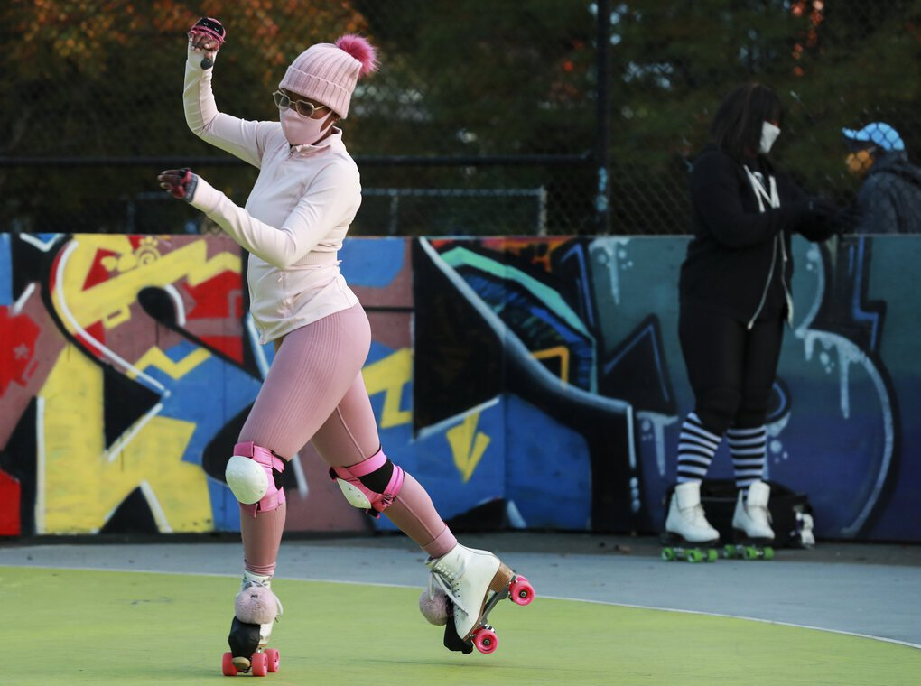 Miracle Sepúlveda skates at Roll Around Seatown at Judkins Park in October. (Erika Schultz / The Seattle Times)
