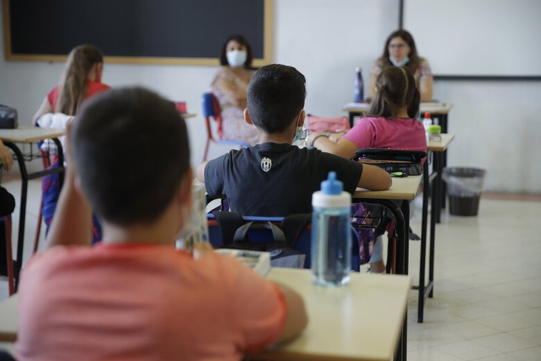 Students sit in a classroom in Codogno, Italy, in September. (Luca Bruno / AP)