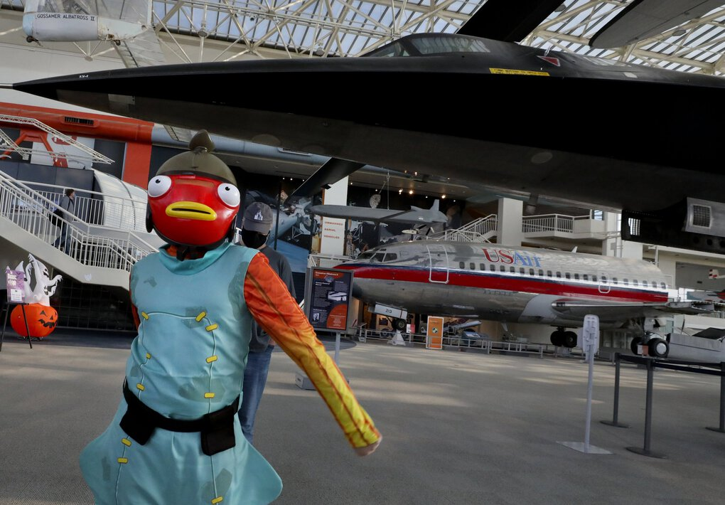 Fishstick is a video game character who came to the Museum of Flight on Halloween. (Alan Berner / The Seattle Times)