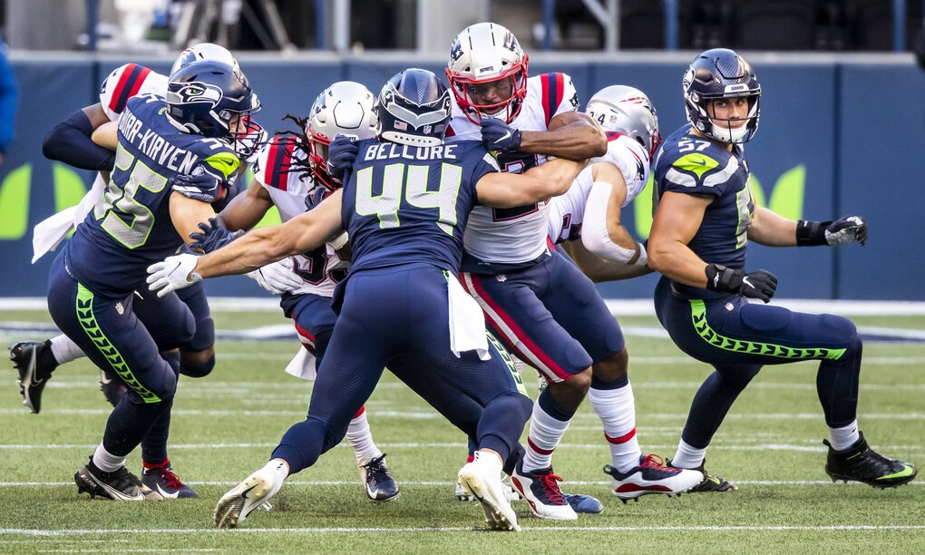 Linebacker Ben Burr-Kirven, far left, has been a key member of the Seahawks special teams this season. (Bettina Hansen / The Seattle Times)