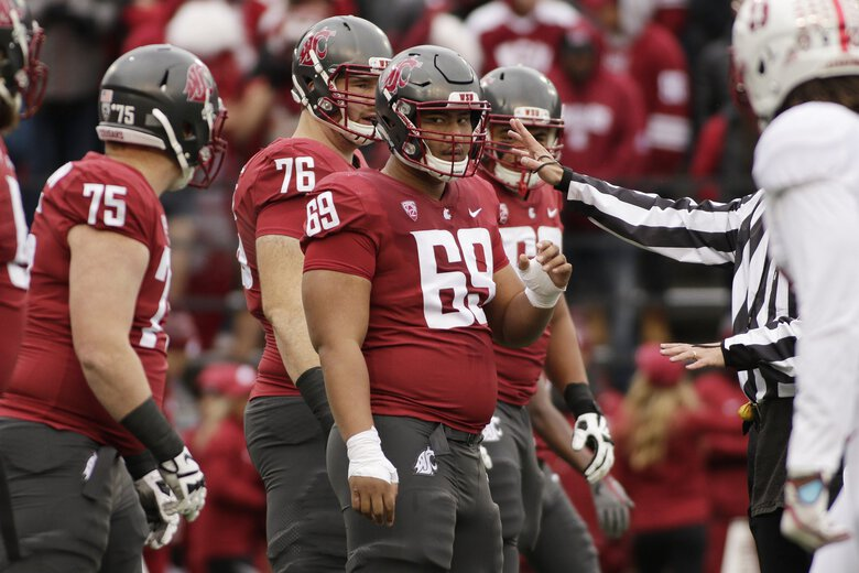 Washington State offensive lineman Frederick Mauigoa (69) stands on the field during the first half of an NCAA college football game against Stanford in Pullman, Wash., Saturday, Nov. 4, 2017. (AP Photo/Young Kwak) OTK OTK (Young Kwak / The Associated Press)