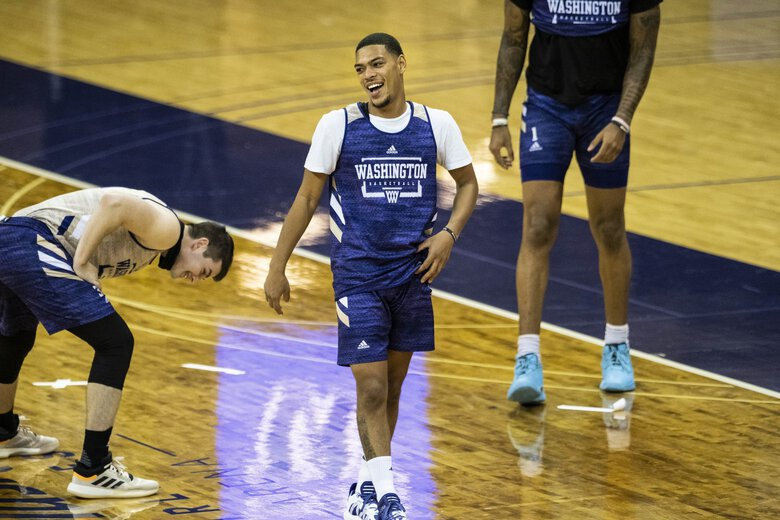 Quade Green will play guard and be a leader of the Huskies on the floor.  The University of Washington men's basketball team practice Tuesday, October 27, 2020 at Alaska Airlines Arena. (Dean Rutz / The Seattle Times)