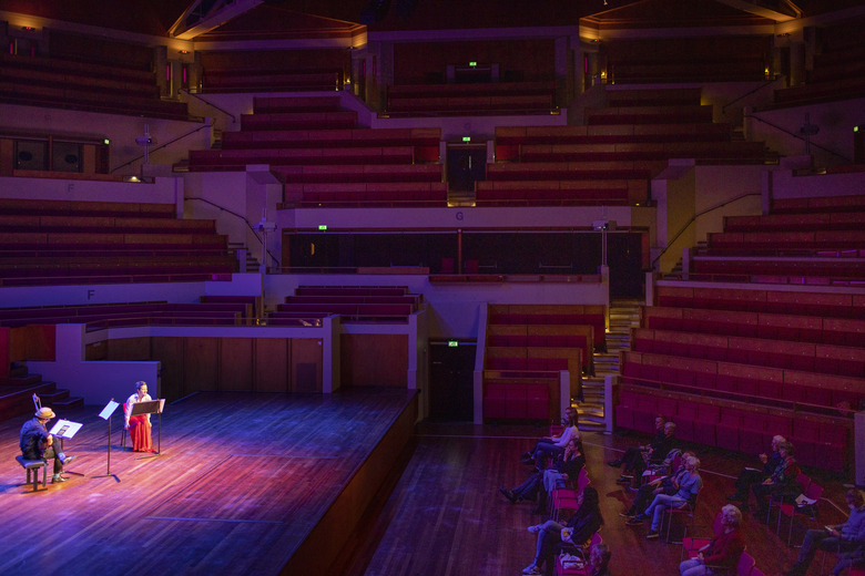 The Royal Conservatory of The Hague performs to a limited audience in Utrecht, Netherlands, Oct. 16. (Ilvy Njiokiktjien / The New York Times)