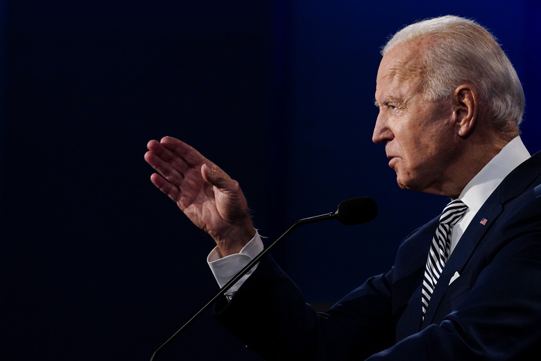 Democratic nominee Joe Biden speaks during the first presidential debate with President Donald Trump at Case Western Reserve University in Cleveland on Tuesday, Sept. 29, 2020. (Washington Post photo by Melina Mara).