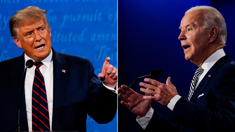 President Trump and Joe Biden at the first presidential debate on Sept. 29 in Cleveland. (Washington Post photos by Melina Mara).