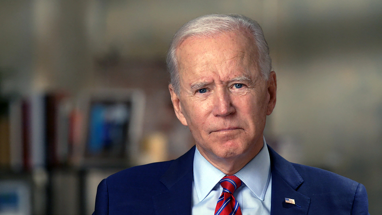 Former Vice President Joe Biden is shown in an interview conducted by Norah O'Donnell in Wilmington, Delaware.  (CBSNews / 60 MINUTES via AP)