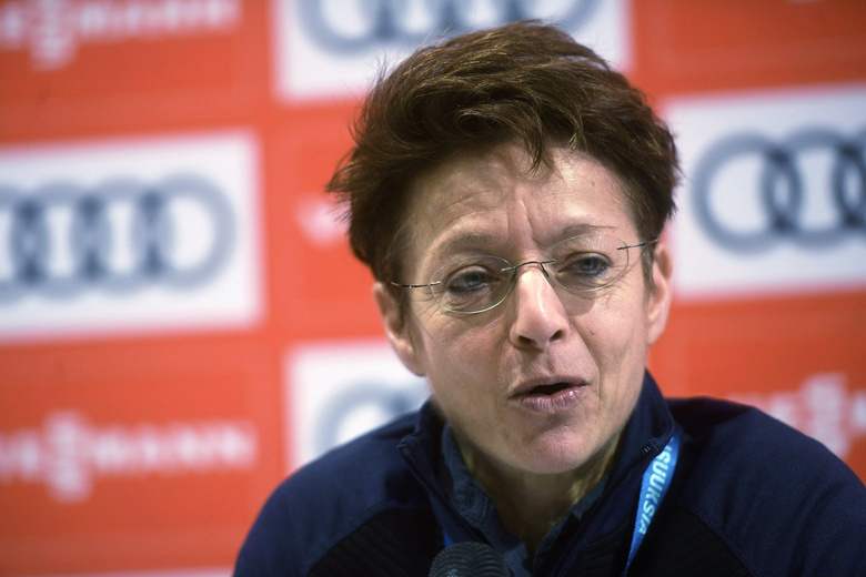 """FILE – In this Nov. 29, 2019, file photo,  FIS Secretary General Sarah Lewis speaks at an anti-doping press conference at a World Cup skiing event in Kuusamo, Finland. The International Ski Federation has removed Lewis from her job on Friday, Oct. 9, 2020, citing a """"complete loss of confidence."""" Lewis, an expected candidate in the FIS presidential election postponed to June, had been secretary general of skiing's governing body for 20 years. (Vesa Moilanen(Lehtikuva via AP, File)"""