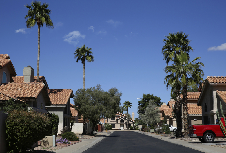 Palm trees line a typical neighborhood at a suburb in Phoenix, Ariz., Sunday, March 9, 2020. America's suburbs are poised to decide not just who wins the White House this year — but the contours of the debate over guns, immigration, work, schools, housing and health care for years to come. What makes the suburbs matter is that they sit between the density of cities that favor Democrats and the open land of rural towns that back Republicans. (AP Photo/Dario Lopez-MIlls)