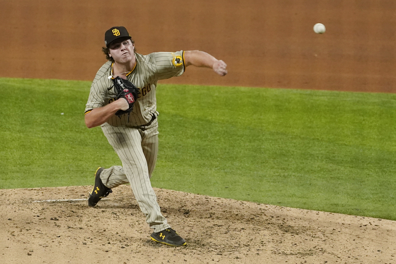 San Diego Padres relief pitcher Ryan Weathers throws to the Los Angeles Dodgers during the fourth inning in Game 1 of a baseball NL Division Series, Tuesday, Oct. 6, 2020, in Arlington, Texas. (AP Photo/Tony Gutierrez)