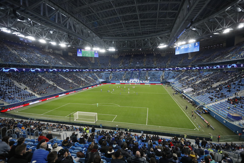 Stadium's roof is closed during the Champions League group F soccer match between Zenit St.Petersburg and Brugge at the Saint Petersburg stadium in St. Petersburg, Russia, Tuesday, Oct. 20, 2020. (AP Photo/Mike Kireev)
