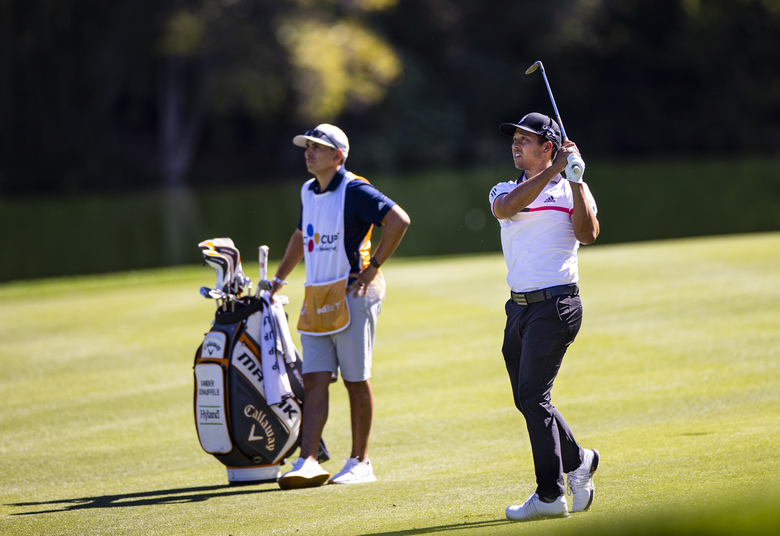Xander Schauffele hits a fairway shot at the 18th hole during the second round of the CJ Cup golf tournament at the Shadow Creek Golf Course, Friday, Oct. 16, 2020, in North Las Vegas. (Chase Stevens/Las Vegas Review-Journal via AP)