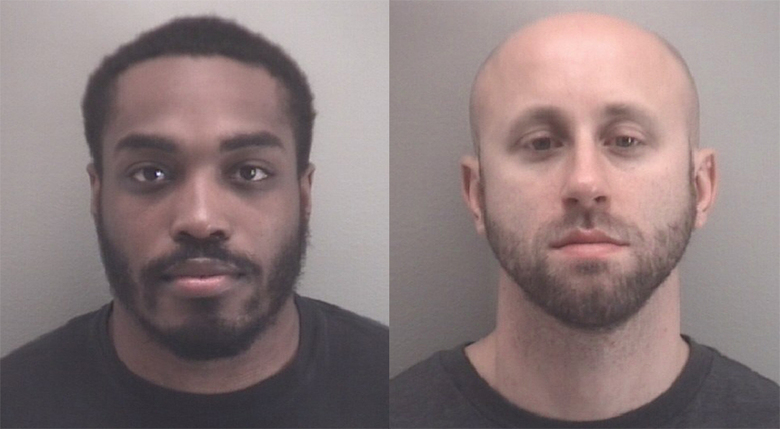 This booking photo provided by Richmond Police shows from left Richmond Police Officers Christopher Brown and Mark Janowski.  The two Virginia police officers who were indicted on misdemeanor charges for their actions during protests against police brutality and racial injustice have made their first court appearance.  Janowski and Brown appeared in court Wednesday, Oct. 7, 2020 on misdemeanor charges of assault and battery.  (Richmond Police via AP)