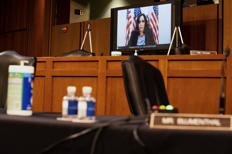 Democratic vice presidential candidate Sen. Kamala Harris, D-Calif., speaks virtually during the confirmation hearing for Supreme Court nominee Amy Coney Barrett, before the Senate Judiciary Committee, Wednesday, Oct. 14, 2020, on Capitol Hill in Washington. (Anna Moneymaker/The New York Times via AP, Pool)