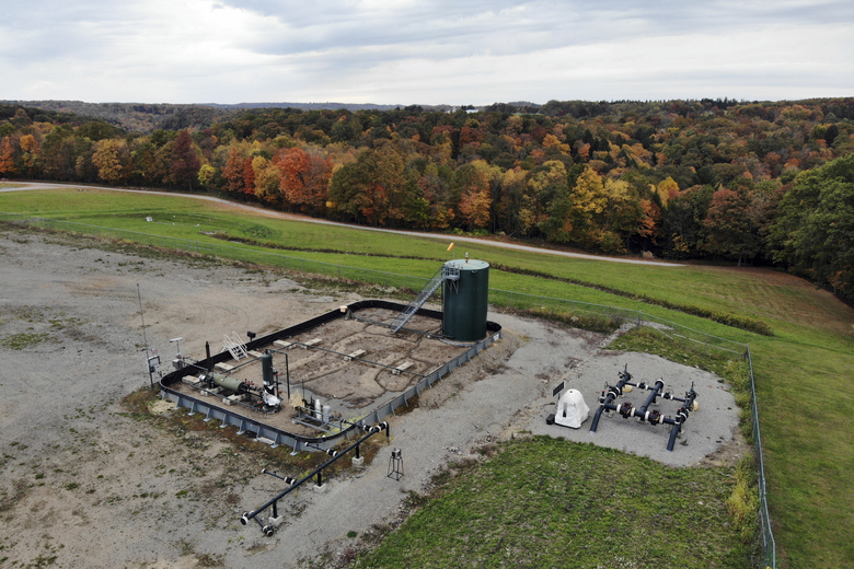 A photo taken from a drone shows a natural gas fracking well pad in Freeport, Pennsylvania, on Thursday, Oct. 15, 2020. President Trump accuses Joe Biden of wanting to ban fracking, a sensitive topic in the No. 2 natural gas state behind Texas. Biden insists he does not want to ban fracking broadly – he wants to ban it on federal lands and make electricity production fossil-fuel free by 2035. (AP Photo/Ted Shaffrey)