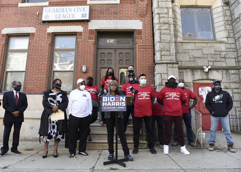 Crystal Williams-Coleman, president of the Guardian Civic League, talks to reporters during a press conference, Friday, Oct. 9, 2020, in Philadelphia. Public servants, firefighters, paramedics, emergency responders and a diverse group of law enforcement professionals denounced the Fraternal Order of Police and Local 22 for not listening to the concerns of the dues paying union members when endorsing President Donald J. Trump for re-election. (AP Photo/Michael Perez)