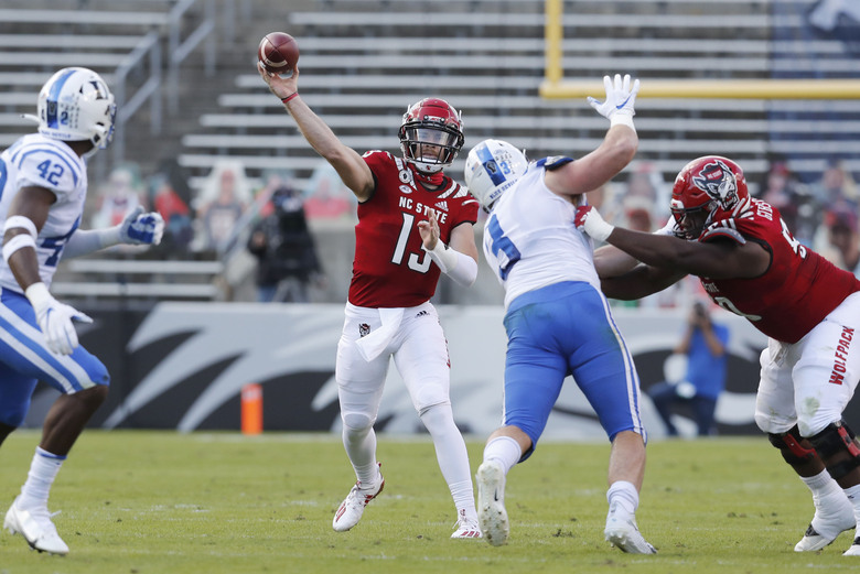North Carolina State quarterback Devin Leary (13) throws a pass against Duke during the first half of an NCAA college football game at Carter-Finley Stadium in Raleigh, N.C., Saturday, Oct. 17, 2020. (Ethan Hyman/The News & Observer via AP)