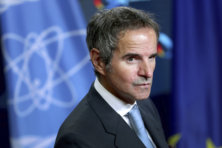Rafael Mariano Grossi, Director General of International Atomic Energy Agency (IAEA), attends a joint press conference as part of a meeting with German Foreign Minister Heiko Maas in Berlin, Germany, Monday, Oct. 26, 2020. (AP Photo/Michael Sohn, pool)