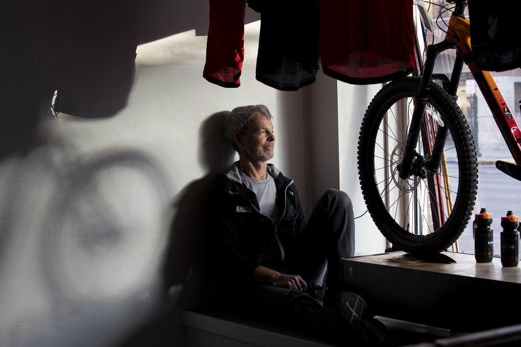 Robert Funderburk, business manager for Bangtail Bike and Ski, a mountain bike and Nordic skiing store in Bozeman, Mont., on Wednesday, Nov. 18, 2020. Sales at the store have increased since the start of the pandemic. (Janie Osborne / The New York Times)