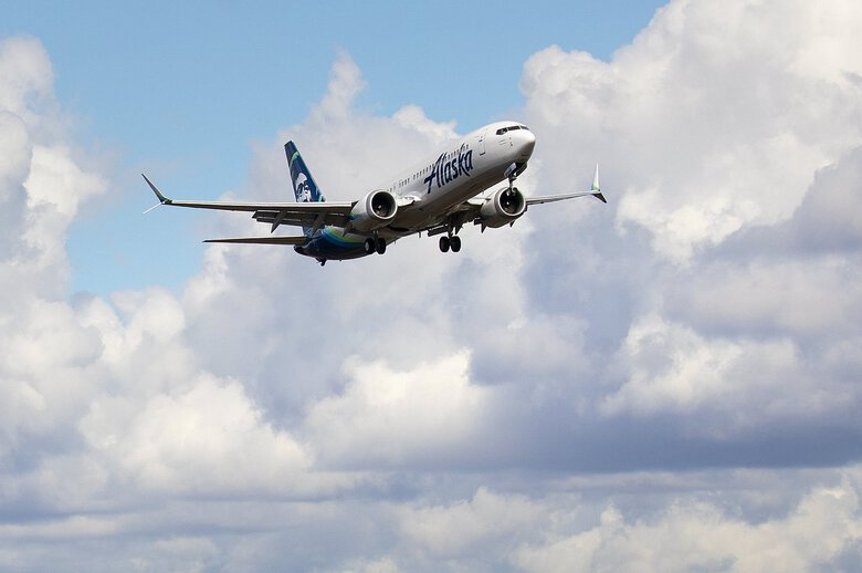 A Boeing 737 MAX-9, built for Alaska Airlines, undergoes testing as it flies past the Boeing factory in Everett Washington on March 23. (Mike Siegel / The Seattle Times)