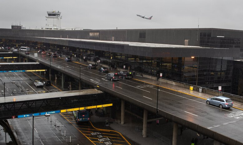 Traffic at the airport is very light early Friday morning, March 13, 2020. The number of passengers passing through Seattle-Tacoma International Airport dipped to a 2020 low of just under 260,000 people in April, but has since started ticking upward. Authorities have no idea what to expect next week, during what is typically the Thanksgiving holiday rush. (Ellen M. Banner / The Seattle Times)