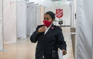 Friday, November 6, 2020   Captain Felicia Grant from The Salvation Army speaking about the new 282-bed overnight homeless shelter that is opening in Seattle's SODO area.   215574