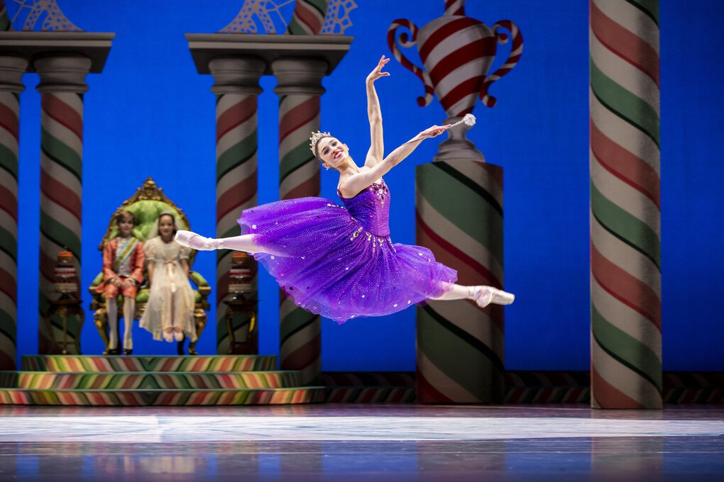 """Pacific Northwest Ballet principal dancer Leta Biasucci as the Sugar Plum Fairy in a scene from PNB's """"The Nutcracker,"""" choreographed by George Balanchine. PNB is streaming a previous production of its annual holiday show in December. (Angela Sterling)"""