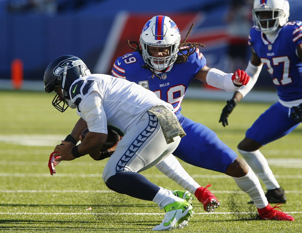 Buffalo Bills middle linebacker Tremaine Edmunds (49) sacks Seattle Seahawks' Russell Wilson (3) during the first half of an NFL football game Sunday, Nov. 8, 2020, in Orchard Park, N.Y. (John Munson / The Associated Press)