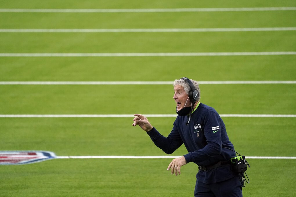 Seattle Seahawks head coach Pete Carroll yells from the sideline during the second half of an NFL football game against the Los Angeles Rams Sunday, Nov. 15, 2020, in Inglewood, Calif.  (Ashley Landis / The Associated Press)