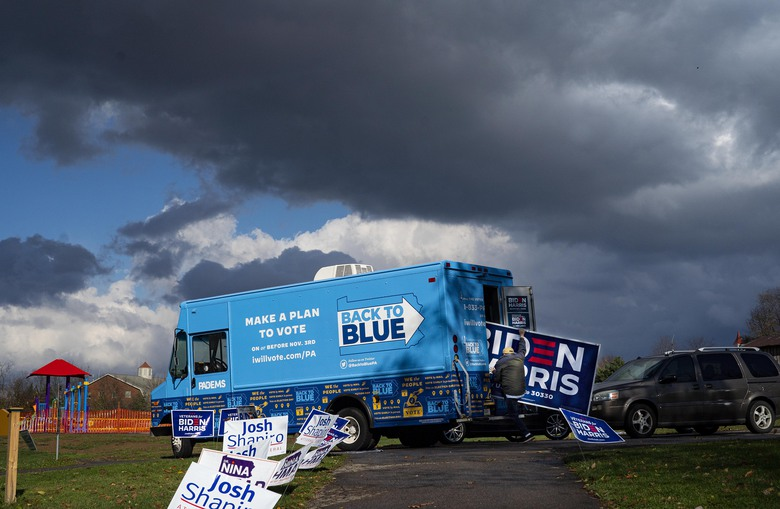 A Biden campaign truck in Adams Township Park, Pa. on Sunday, Nov. 1, 2020. The Biden campaign focused on reclaiming states that President Trump flipped in 2016, like Pennsylvania. (Ruth Fremson/The New York Times)