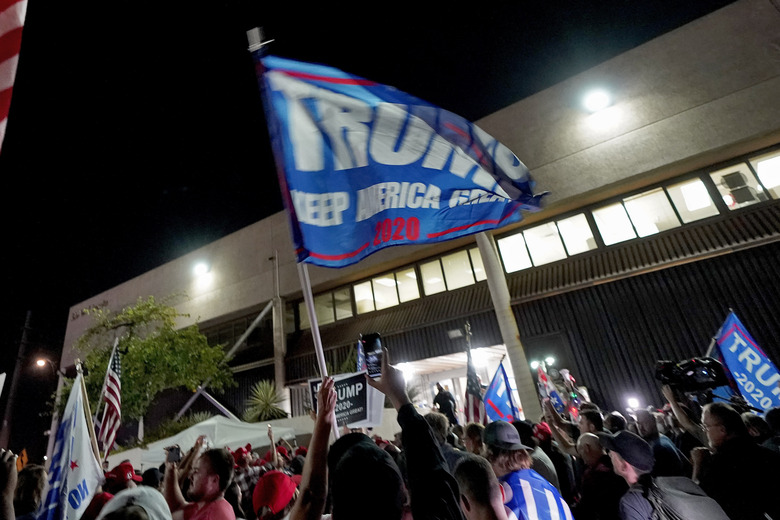 Supporters of President Donald Trump rally outside the Maricopa County Recorder's Office, Wednesday, Nov. 4, 2020, in Phoenix. (AP Photo / Matt York)