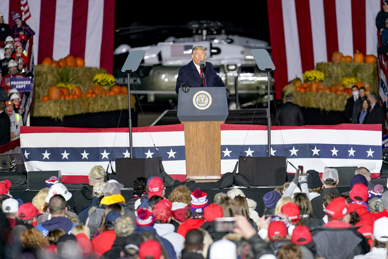 President Donald Trump addresses the crowd during a campaign stop, Saturday, Oct. 31, 2020, at the Butler County Regional Airport in Butler, Pa. (AP Photo/Keith Srakocic)
