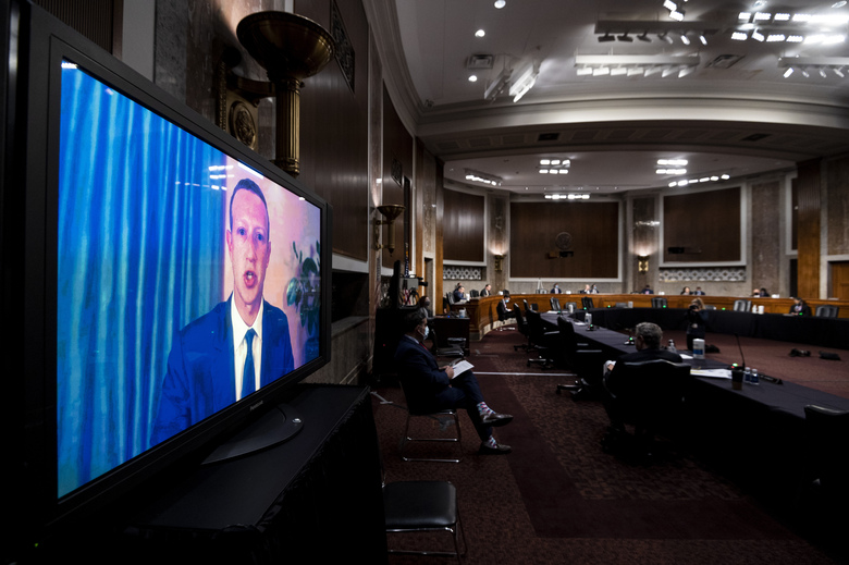 Facebook CEO Mark Zuckerberg testifies remotely during a Senate Judiciary Committee hearing on Facebook and Twitter's actions around the closely contested election on Tuesday, Nov. 17, 2020, in Washington.. (Bill Clark/Pool via AP)