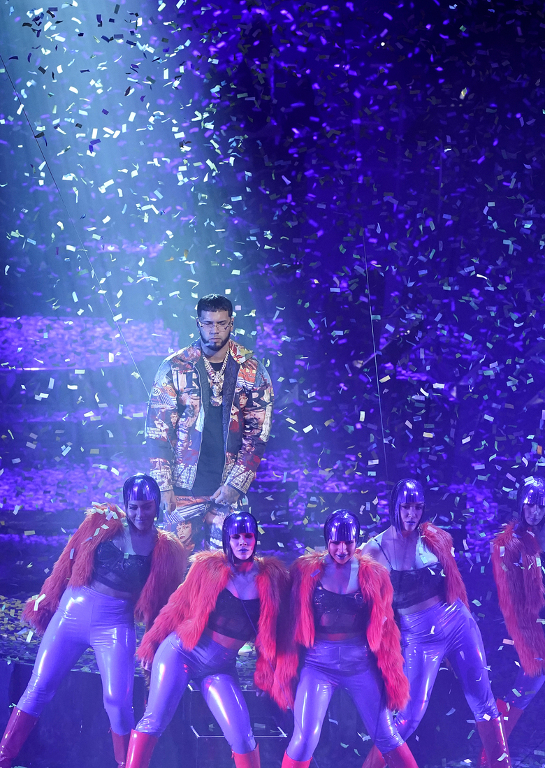Anuel AA performs for the 21st Latin Grammy Awards, airing on Thursday, Nov. 19, 2020, at American Airlines Arena in Miami. (AP Photo/Marta Lavandier)