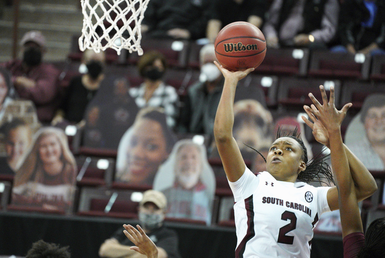South Carolina guard Eniya Russell (2) attempts a shot during the first half of an NCAA college basketball game against Charleston, Wednesday, Nov. 25, 2020, in Columbia, S.C. (AP Photo/Sean Rayford)