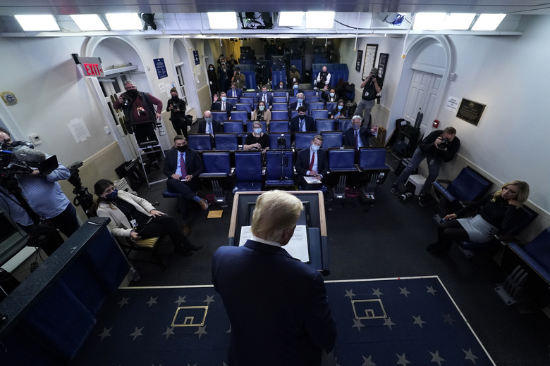 President Donald Trump leaves after speaking at the White House, Thursday, Nov. 5, 2020, in Washington. (AP Photo/Evan Vucci)