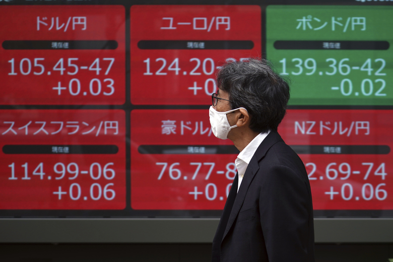 A man walks past an electronic stock board showing foreign currency prices at a securities firm in Tokyo Thursday, Nov. 12, 2020. Stocks fell back across Asia on Thursday after gains for big technology shares pushed most Wall Street benchmarks higher. (AP Photo/Eugene Hoshiko)