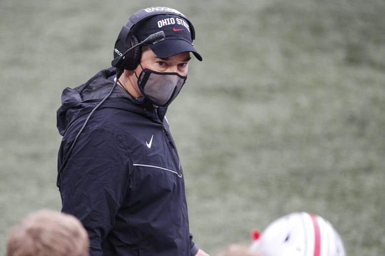 Ohio State head coach Ryan Day talks to his players during an NCAA college football game against Indiana, Saturday, Nov. 21, 2020, in Columbus, Ohio. (AP Photo/Jay LaPrete)