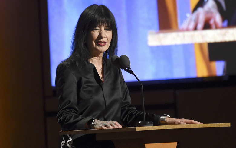 FILE – U.S. poet laureate Joy Harjo speaks at the Governors Awards on Oct. 27, 2019, in Los Angeles. Harjo will serve a third 1-year term and has launched an online project that celebrates Native American poets around the country. Her re-appointment was announced Thursday, Nov. 19, 2020, by the Library of Congress, and her new term begins in September. (Photo by Chris Pizzello/Invision/AP, File)