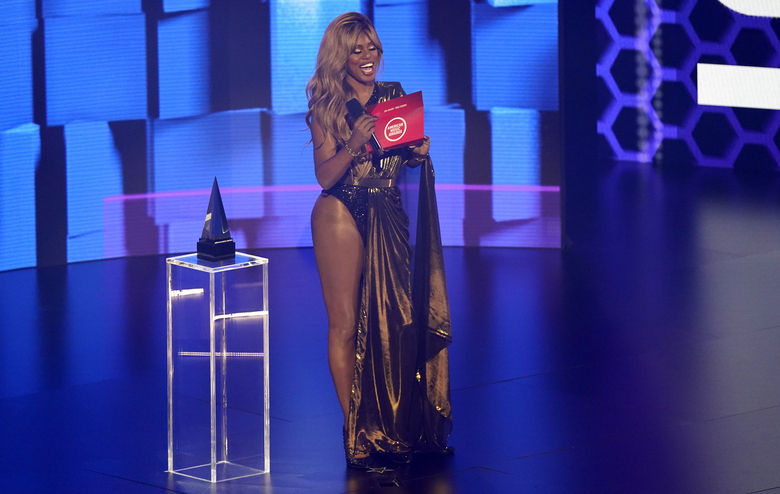 Laverne Cox presents the award for favorite rap/hip-hop song at the American Music Awards on Sunday, Nov. 22, 2020, at the Microsoft Theater in Los Angeles. (AP Photo/Chris Pizzello)