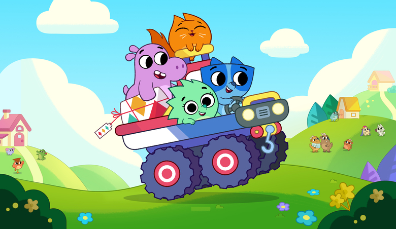 """This image released by Guru Studio shows, clockwise from left, Tibor the hippo, Hazel the cat, Axel the raccoon and Suki the hedgehog from the series """"Pikwik Pack,"""" premiering two back-to-back episodes, Saturday, November 7, at 8:30 a.m. ET/PT on Disney Junior and in DisneyNOW. (Guru Studio via AP)"""