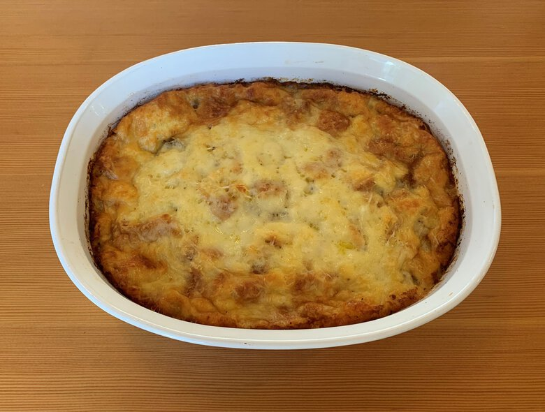 One of Lori Taki-Uno's cherished holiday traditions is to make this breakfast strata for her family on Christmas morning. Everyone won't be in the same room to eat it as they open presents. But, Taki-Uno says, perhaps she'll make some ahead of time and deliver it to her loved ones' doorsteps so they can all keep their Christmas morning tradition alive. (Lori Taki-Uno / The Seattle Times)
