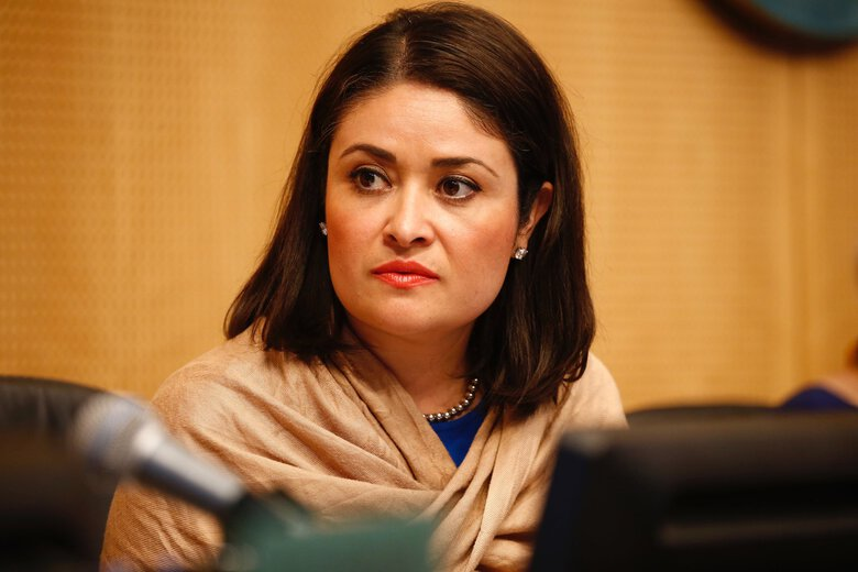 Councilmember M. Lorena Gonzalez takes her seat before a Seattle City Council meeting at Seattle City Hall Monday May 14, 2018.  (Bettina Hansen / The Seattle Times)