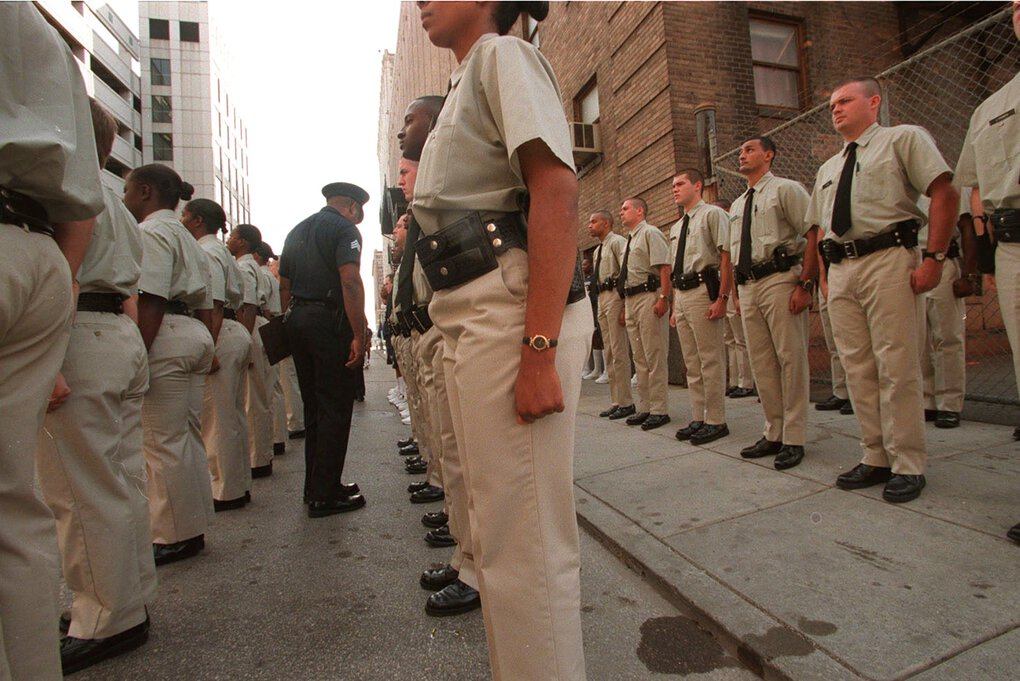 Detroit police recruits in 1997. The city hasn't had a high-profile police brutality case since the '90s, but a 2018 lawsuit claimed the police had willfully ignored abuses. (Michelle V. Agins / The New York Times)